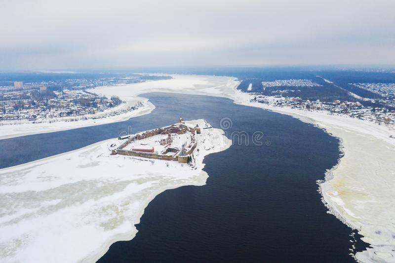 Oreshek castle near Shlisselburg, Russia in winter morning, aerial view.  stock images