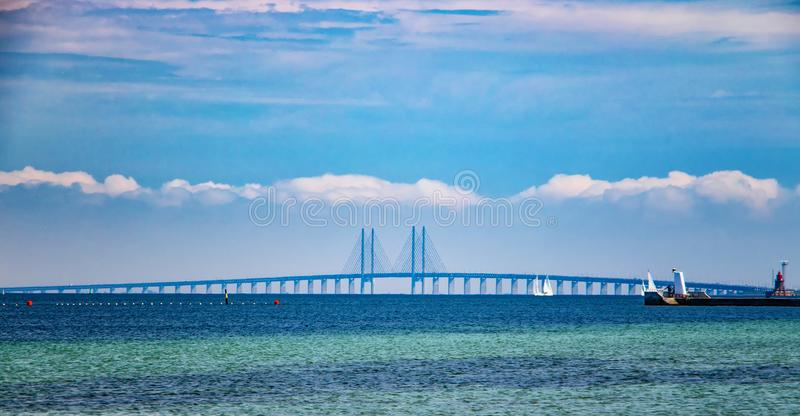 Oresund Bridge connects Denmark and Sweden. The bridge is a combined railway and motorway bridge. The North Sea has a beautiful stock images