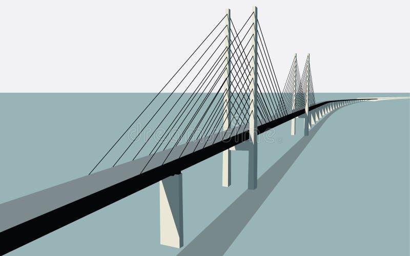 Oresund Bridge Vector. Oresund Bridge between Sweden and Denmark Vector Illustration stock illustration