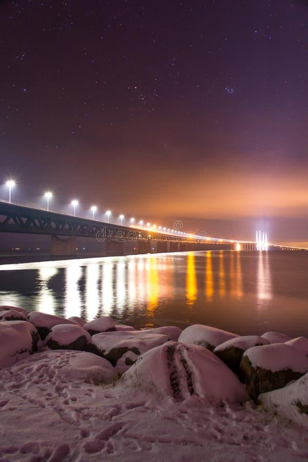 Oresunds bridge night royalty free stock image