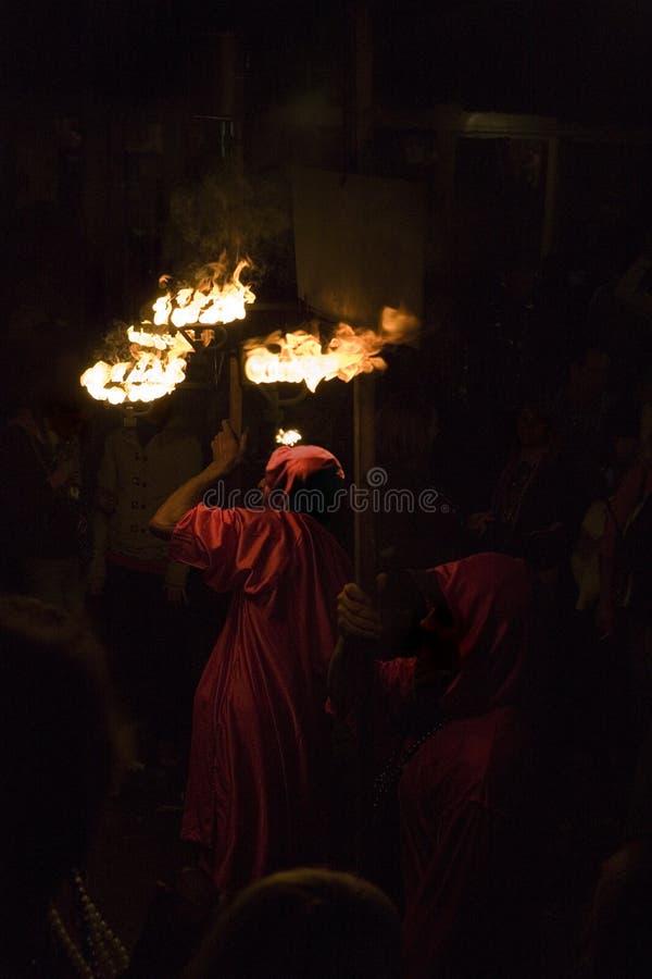 Orfeusz mardi gras flambeau parada fotografia stock