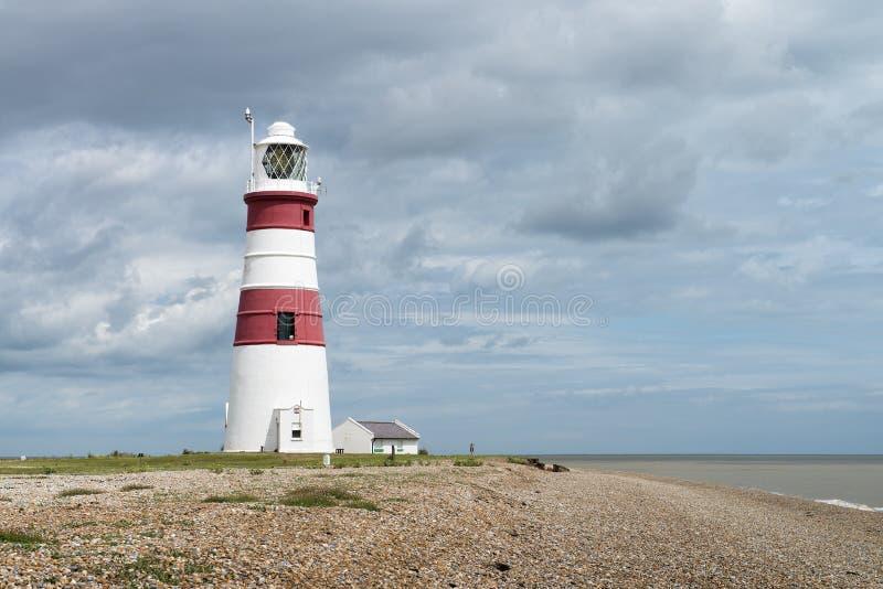 Orfordness Lighthouse, Orford Ness, Suffolk, UK. The red and white striped Orfordness Lighthouse, Orford Ness, Suffolk, UK royalty free stock photography