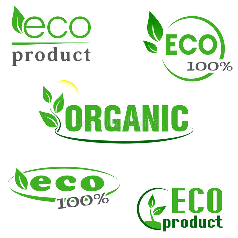 Orgánico, eco, iconos verdes de los productos naturales fijados ilustración del vector
