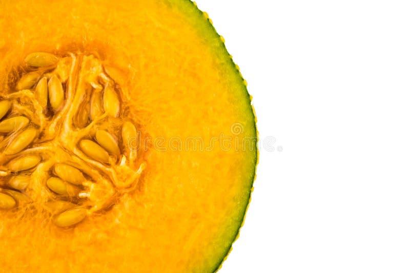 Orgánico fresco una mitad del melón anaranjado del cantalupo imagen de archivo