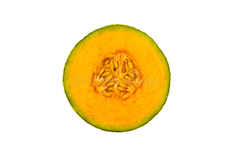 Orgánico fresco una mitad del melón anaranjado del cantalupo imagenes de archivo