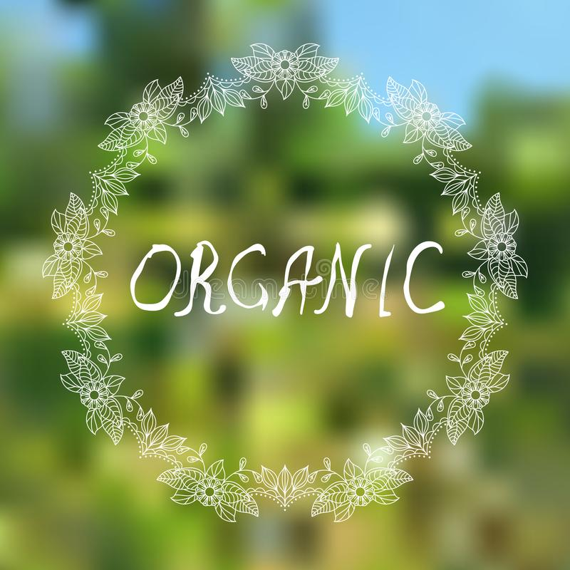Orgánico La mano bosquejó elementos tipográficos en fondo blured fotografía de archivo