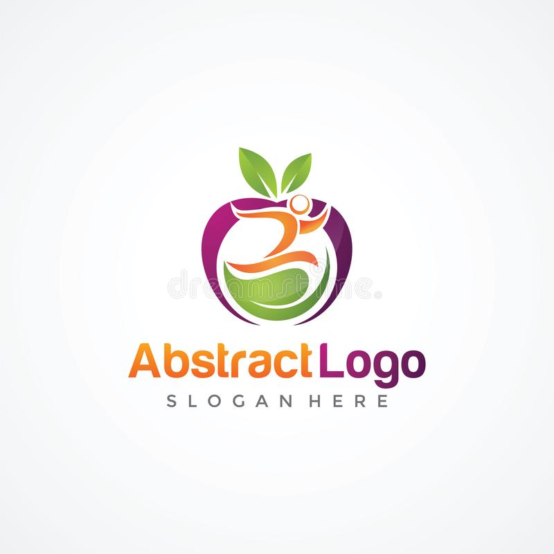Orgânico abstrato e povos Logo Template EP do ilustrador do vetor ilustração royalty free
