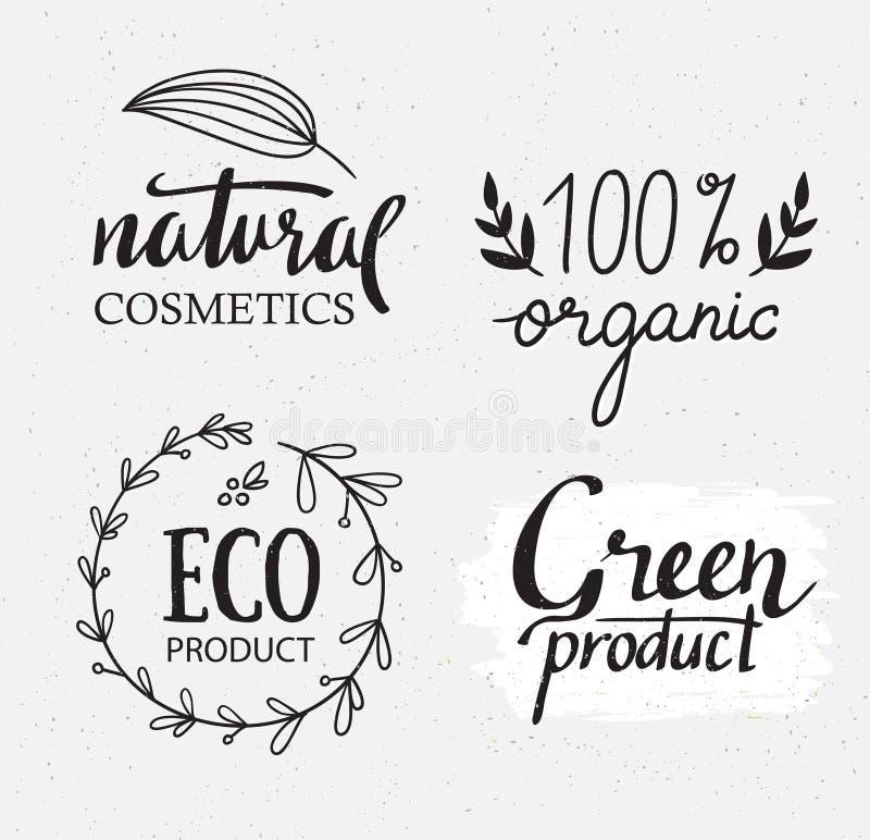 Orgânico, bio, grupo natural do vetor das etiquetas da ecologia Logotipo verde com elementos, grinaldas e textura das plantas ilustração do vetor
