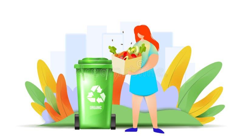 Orgânico desperdice o conceito de projeto Uma menina está jogando desperdiça o material no escaninho de reciclagem fotos de stock