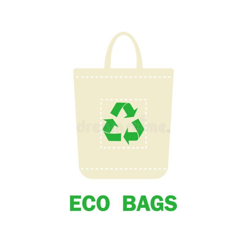 Orgânico e eco-sacos Protecção ambiental Diga não aos sacos de plástico e use sacos orgânicos Recicl o símbolo Ilustração do veto ilustração royalty free