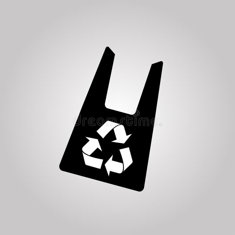 Orgânico e eco-sacos Protecção ambiental Diga não aos sacos de plástico e use sacos orgânicos Recicl o símbolo Ilustração do veto ilustração stock