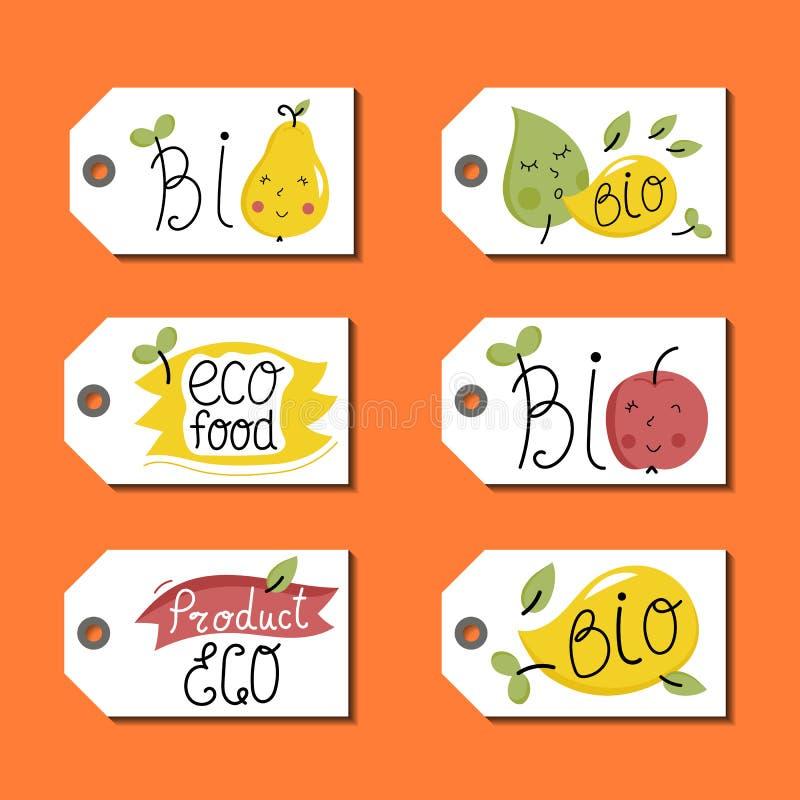 Orgânico, eco e bio grupo de etiquetas do alimento ilustração stock