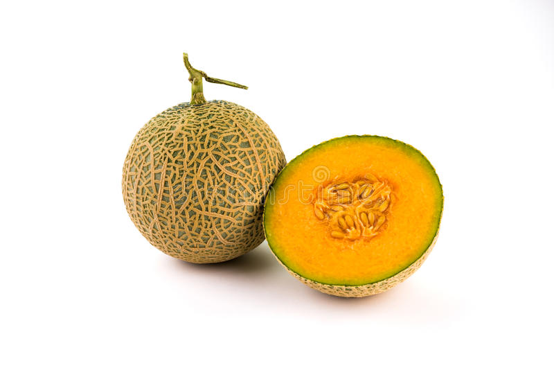 Orgânico fresco uma metade do melão alaranjado do cantalupo imagens de stock