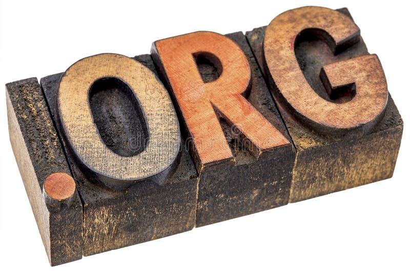 Org точки - бесприбыльный домен интернета в деревянном типе стоковые фотографии rf