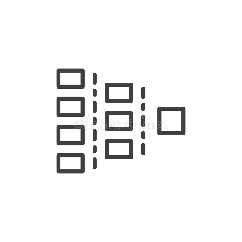 Org chart line icon, outline vector sign, linear style pictogram isolated on white. stock illustration
