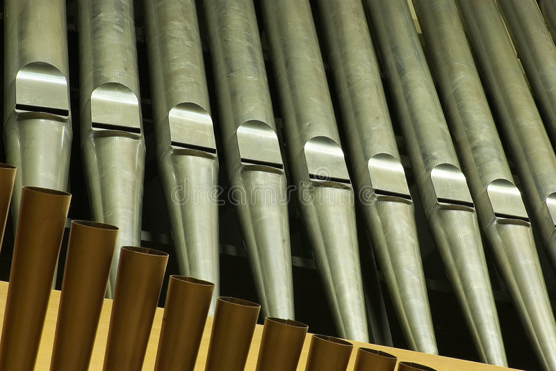 Organ. Traditional organ pipes in Minsk stock images