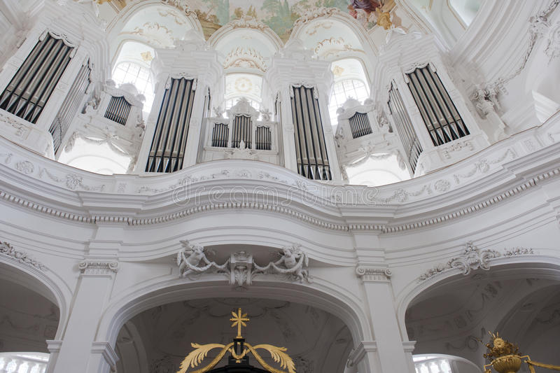 Organ in Abbey Church Neresheim royalty free stock images