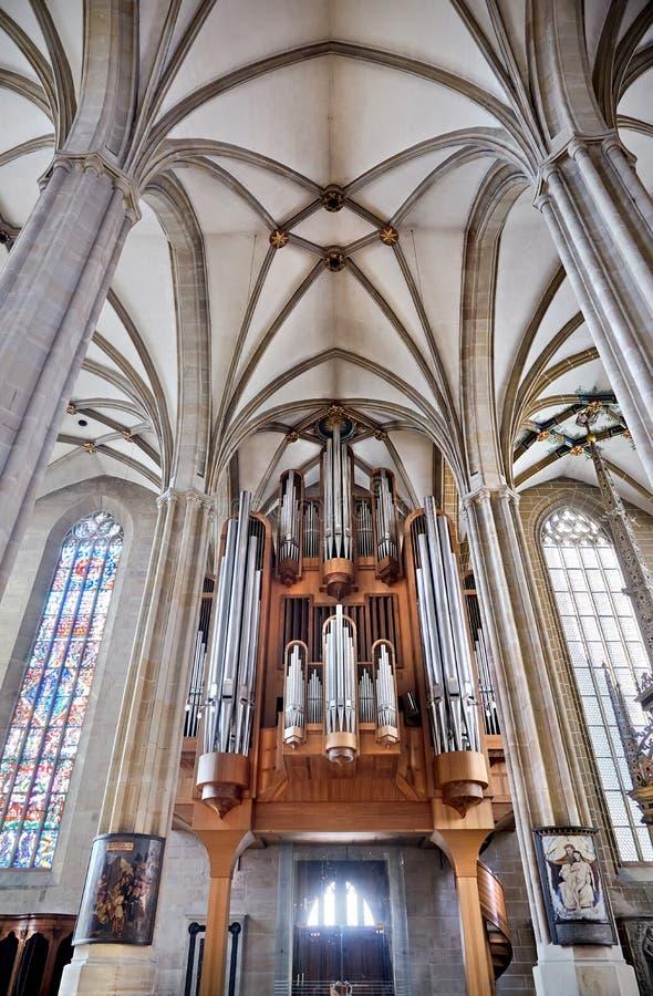 Organ av Sts Mary domkyrka i Erfurt arkivfoto