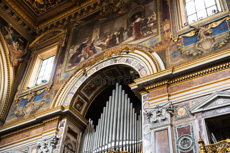 Organ in the Basilica of St John Lateran in Rome Italy royalty free stock image