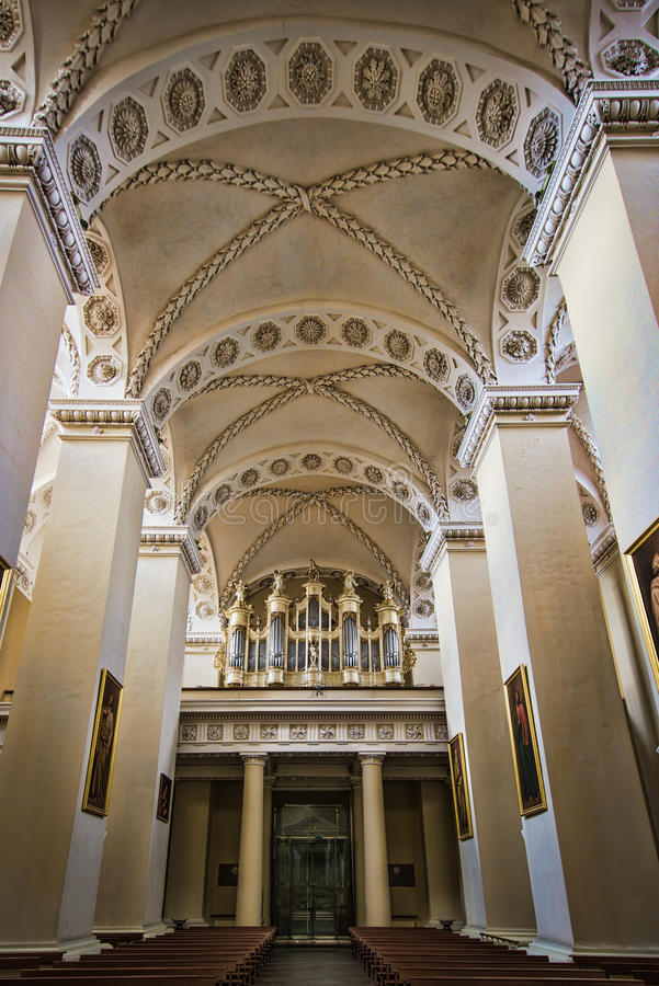Organ at Cathedral. Interior of the main Roman Catholic Cathedral of Lithuania stock image