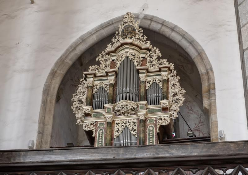 Organ of the choir of the Literary Brotherhood, Church of Saint Vitus, Cesky Krumlov, Czech Republic stock images