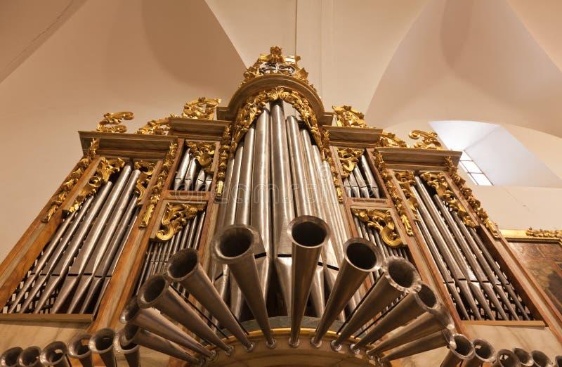 Organ of a church. Old organ of a church royalty free stock photos