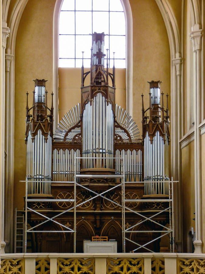 The organ in the church. stock photo