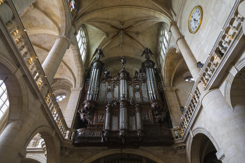 Organ in the church of St Etienne-du-Mont stock photos