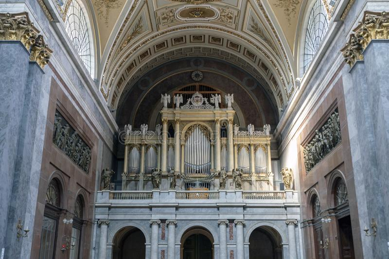 The organ in Esztergom Basilica in Hungary.  stock images