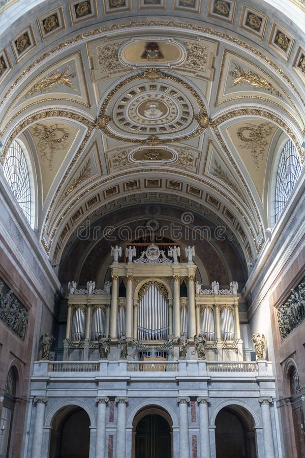The organ in Esztergom Basilica in Hungary.  royalty free stock images