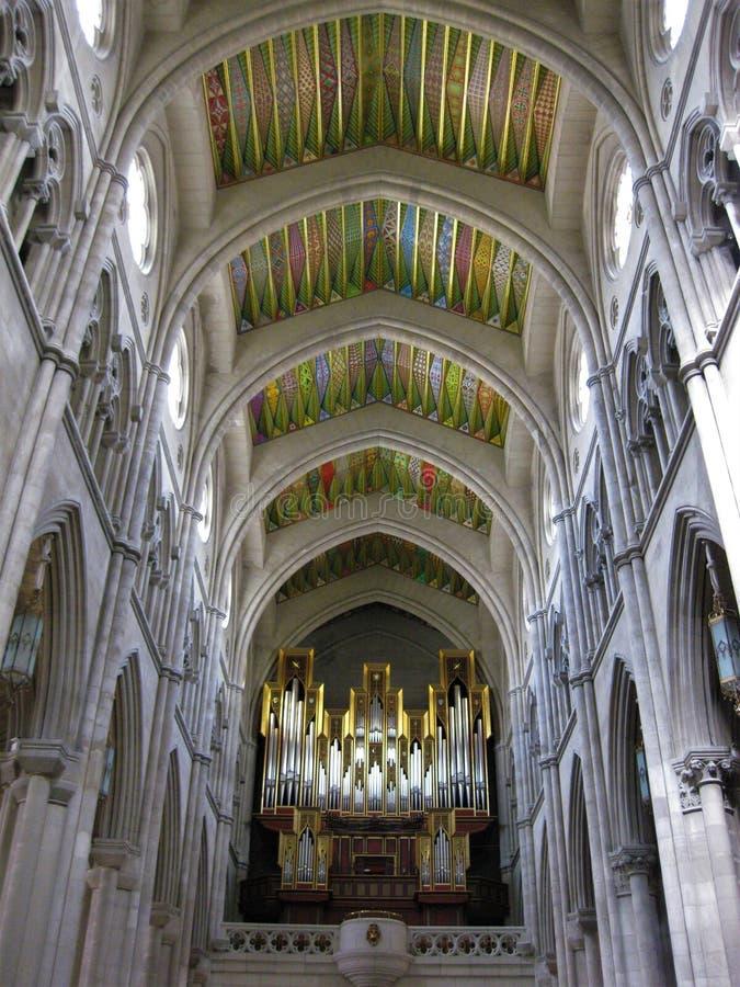 Organ i domkyrkan, Madrid Spanien arkivbild