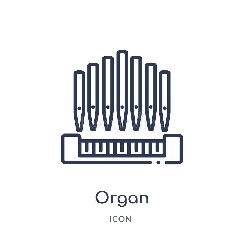 Organ icon from music outline collection. Thin line organ icon isolated on white background stock illustration