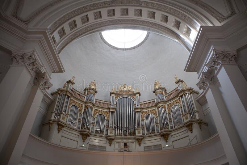 Organ inside the cathedral of Helsinki (Tuormokirkko) - Finland royalty free stock photos