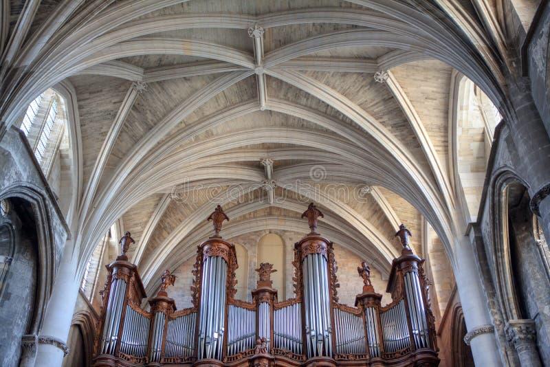 Organ inside the church stock photos