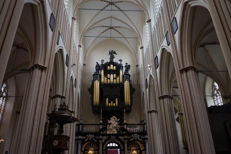 The organ inside the church in Bruges, Belgium. Europe royalty free stock photos