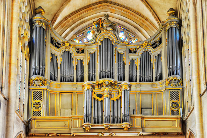 Organ inside Saint-Germain l`Auxerrois Church stock photography