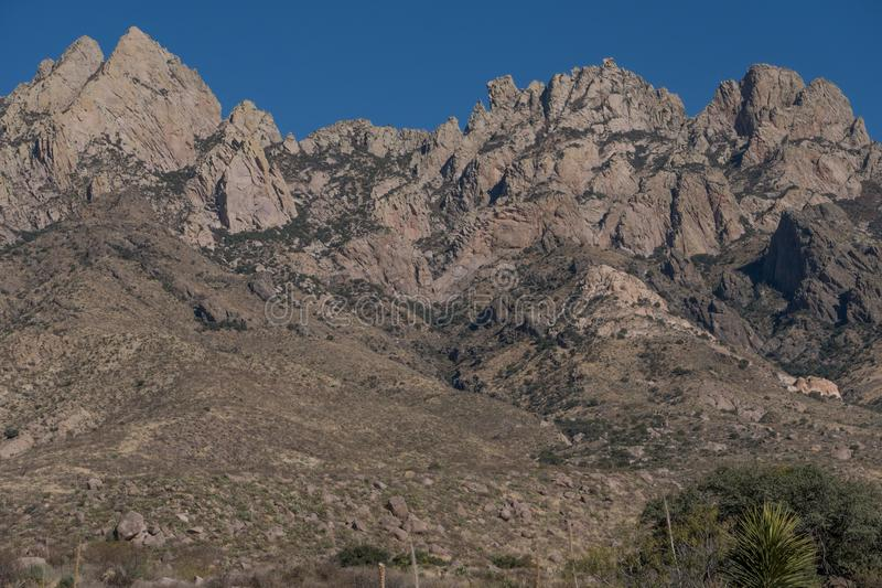 Organ Mountains Desert peaks National Monument, close up. royalty free stock images