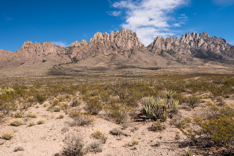 Organ Mountains Desert Peaks National Monument, New Mexico. The Organ Mountains rise above the desert plains located in southern New Mexico royalty free stock photography