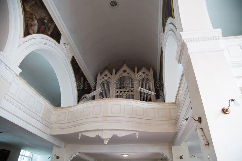 Organ in Our Lady of Sorrows Church, Riga stock image