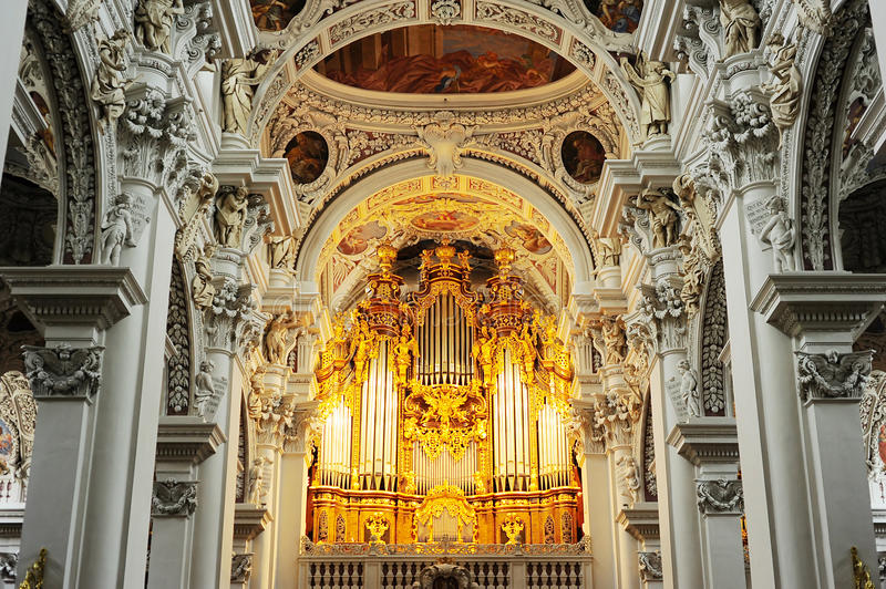 Organ at Passau Cathedral. Organ at St. Stephan's Cathedral, Passau. It is the largest cathedral organ in the world. The organ currently has 17,774 pipes and 233 stock image