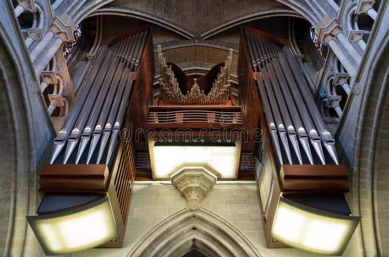 Organ pipes. From Lausanne cathedral. Switzerland stock photo