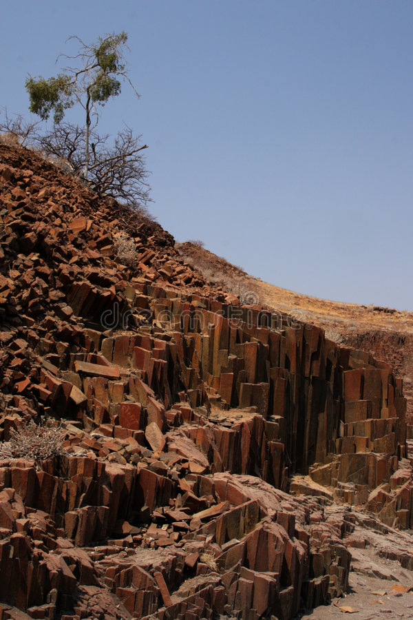 Organ Pipes. The Organ Pipes, a formation of volcanic rocks in the name-giving shape of organ pipes in Damaraland, Namibia royalty free stock photos