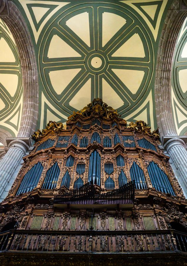 Organ Pipes old inside a church cathedral in mexico city downtown royalty free stock images