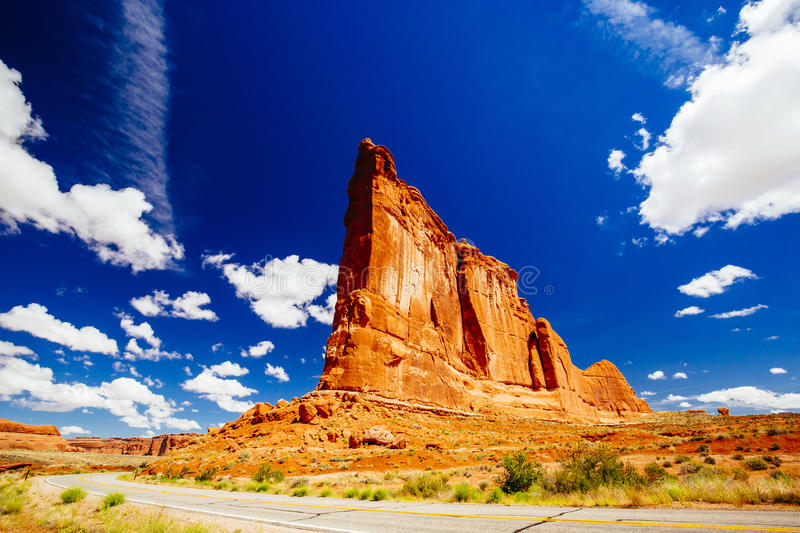 The Organ sandstone, Arches National Park, Utah, USA. The Organ is an impressive sandstone fin located at Arches National Park, Utah, USA royalty free stock images