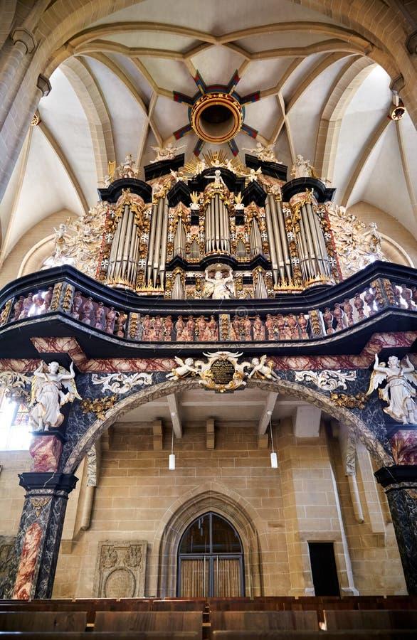 Organ Severin kościół w Erfurt, Thuringia, Niemcy obrazy royalty free