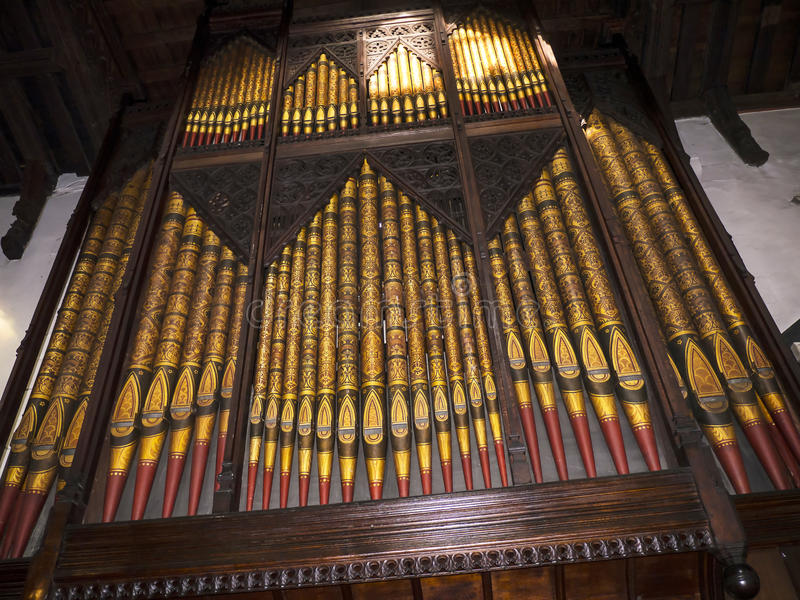Organ of St Marys, Lancaster Priory Church is close by the Castle above the city in England stock photos