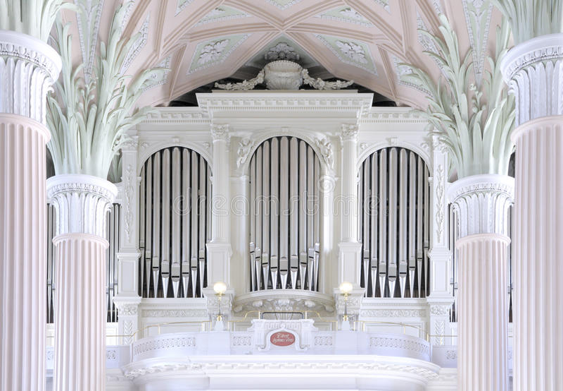 Organ of St. Nicholas church in Leipzig royalty free stock photo