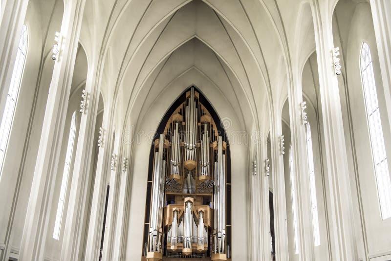 Organ Hallgrimskirkja, Reykjavik, Iceland stock photography