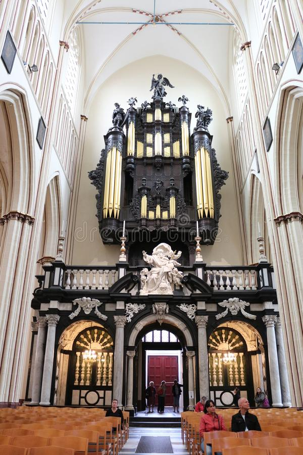 Organ St Salvator katedra, Bruges, Belgia obrazy royalty free