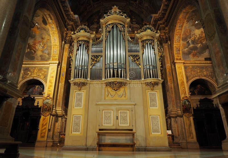 Organ w basilic Sant «Alessandro Zebedia fotografia royalty free